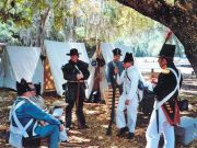 historical military re-enactment at fort christmas during an original orlando tours visit to historic christmas florida