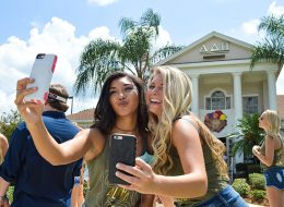 taking a selfie during an original orlando tours visit to UCF prior to the airboat ride